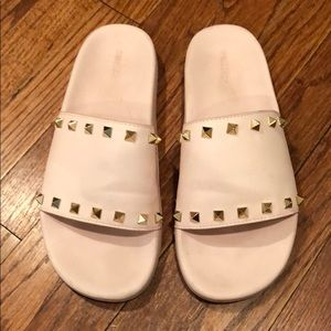 Forever 21 baby pink slides with gold studs US 7